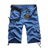 PASATO Clearance!Fashion Mens Casual Pocket Beach Work Casual Short Trouser Shorts, Classic Comfortable Cotton Pants(Blue, 34)