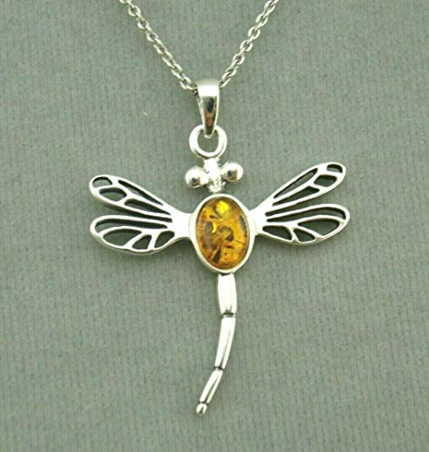 (Dragonfly Pendant Necklace For Women Amber Silver Jewelry NEW)