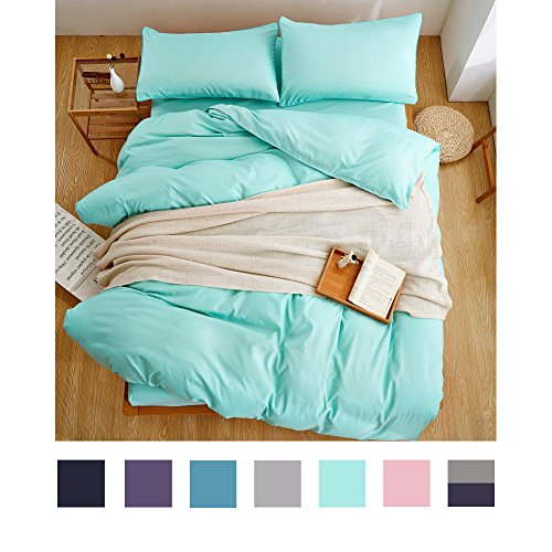 Aqua Blue Bedding Set Lightweight Microfiber Solid Color Bedding 4 Pieces Blue Duvet Cover Set One Flat Sheet One Duvet Cover Two Pillowcases (Queen,Blue) (Light Blue Bedding)
