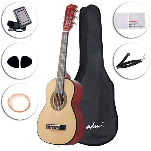 ADM Beginner Classical Guitar 30 Inch Nylon Strings Bundle with Carrying Bag & Accessories Natural Gloss [並行輸入品] B07BS1YZ1C