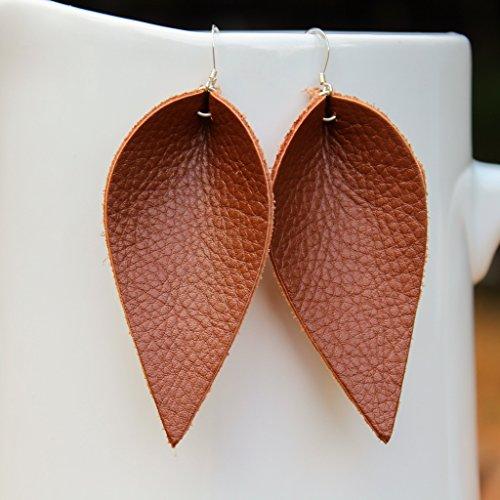 Brown Genuine Leather Leaf Earrings//Joanna Gaines Inspired