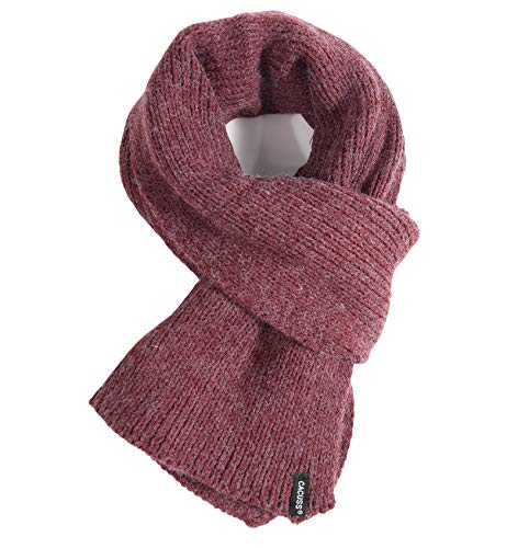 CACUSS Men's Solid Winter Scarf Long Knitted Neckwear Soft Warm Scarves (One size, W0168_Wine) -