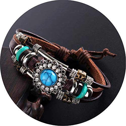 liujun Charm Turquoise Leather Bracelets for Women Vintage Multilayer Cubic Zircon Bracelets Fashion Adjustable Punk Cuff Bangle Turquoise Layered Wrap Wristband for Men Couples (Blue)