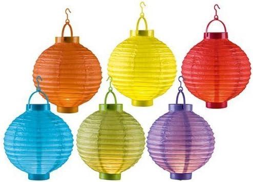 Juego de 6 Linternas de papel LED Luz Ø20 cm inalámbrico – Farolillo faroles farolillos Jardín Globo Papel – Esfera: Amazon.es: Iluminación