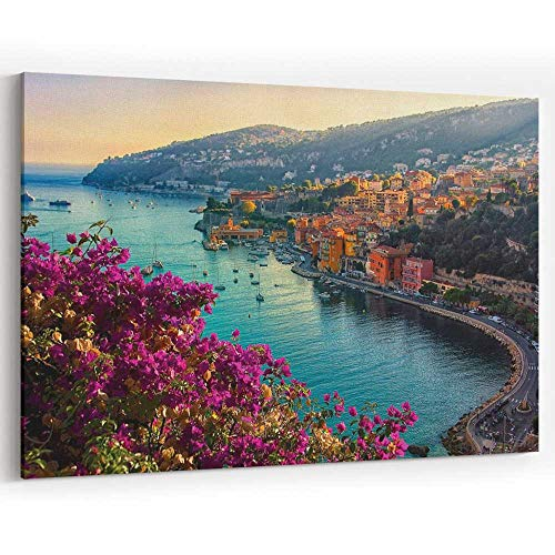Villefranche sur mer Canvas Art Wall Dector for Modern Home Decor Stretched and Framed Ready to - Sur Framed Big