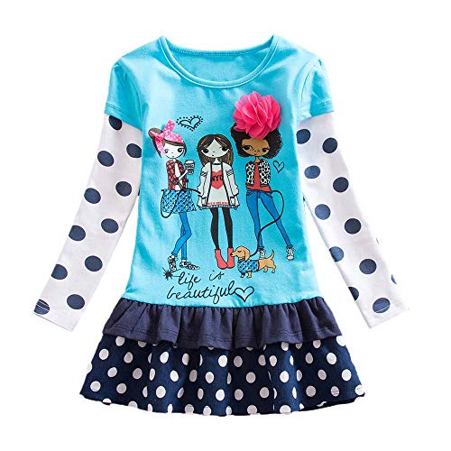 Armoire Cotton (Girl Dress,Longay Toddler Baby Girls Long Sleeve Floral Print Cartoon Girls Party Dress Clothes (6))