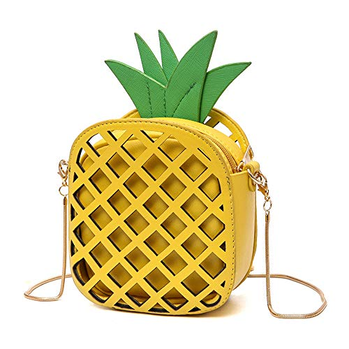 (Small Crossbody Bag Cute Cartoon Purse Pineapple Fruit Shape Shoulder Bag PU leather Handbag Clutch for Womens)