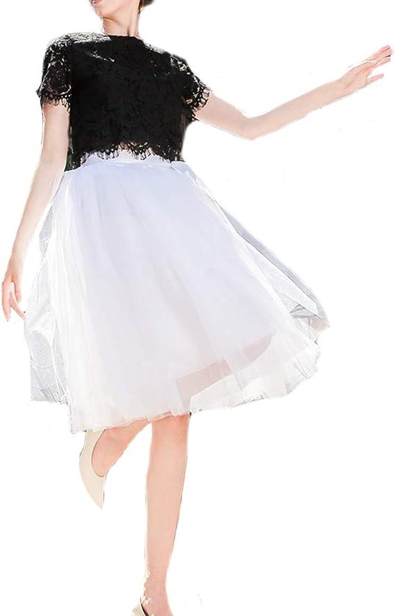 FOLOBE Sottogonna da donna in tulle a 7 strati con cintura elastica bianco Taglia unica