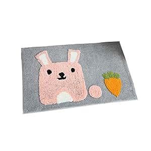SW-Ning - Alfombrilla de baño antideslizante para dormitorio, sofá, oficina, sala de estar, diseño de dibujos animados, rabbit, 45*65cm