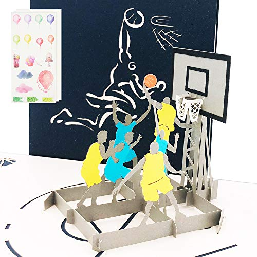 Ribbli Basketball 3D Pop Up Card,Greeting Card,Thank You Card,Anniversary Card,Sport, For Birthday,Father's Day,Mother's Day,Valentine's Day,Wedding,Graduation,Thanksgiving,Christmas,Any Occasion (Valentines Day Cards Basketball)