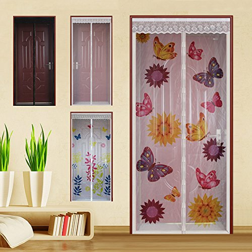 WYZworks (Summer Design) Magnetic Mesh Hands-Free Lace Screen Door (Various Designs Available)