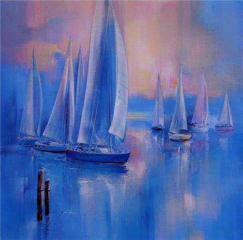 The Perfect Effect Canvas Of Oil Painting 'Contemporary Artwork Of Sailing Ships' ,size: 18x18 Inch / 46x46 Cm ,this Reproductions Art Decorative Canvas Prints Is Fit For Study Decor And Home Artwork And Gifts