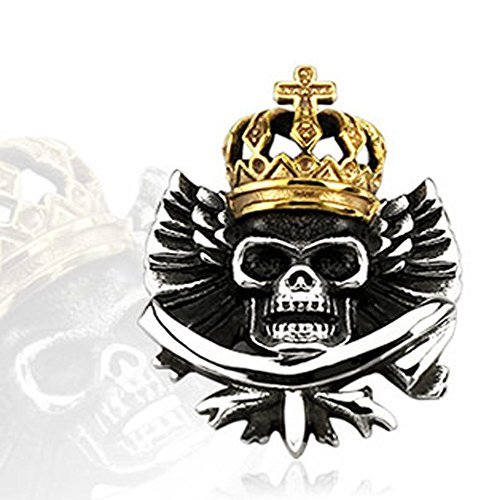 Crowned Skull Pendant - 316L Stainless Steel Gold IP Crowned Marduke Skull Pendant, Clasp will Fit Upto 5MM Thick Chains, Pendant Height: 42MM Width: 32MM