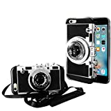 Guojia iPhone 6/6s Camera case, 3D Cute Design Silicone Cover with Long Strap Rope,Cool Phone Protector for iPhone 6/iPhone 6s (4.7 inch)-Black