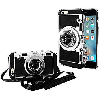 iPhone 6/6s Camera case,Guojia 3D Cute Design Silicone Cover with Long Strap Rope,Cool phone Protector for iPhone 6/iPhone 6s (4.7 inch)-Black