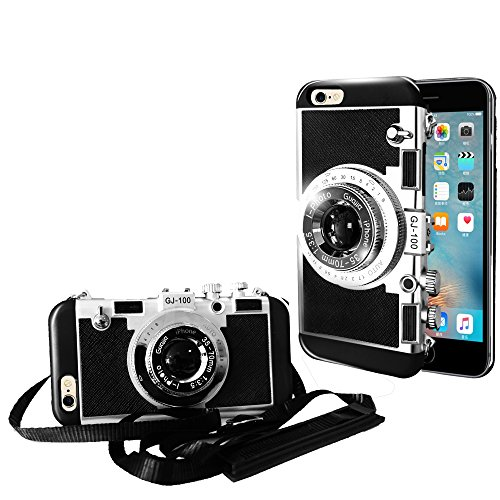 Guojia iPhone 6/6s Camera case, 3D Cute Design Silicone Cover with Long Strap Rope,Cool Phone Protector for iPhone 6/iPhone 6s (4.7 inch)-Black -