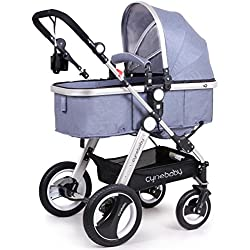 Cynebaby/Belecoo Baby Stroller for Newborn and Toddler - Convertible Bassinet to Stroller Baby Carriage (Linen Blue)