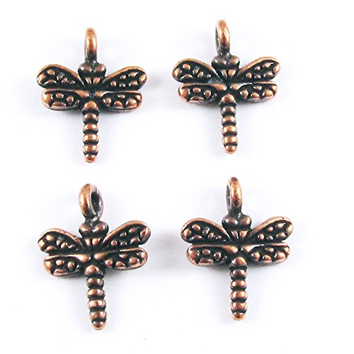 TierraCast Pewter Charms-ANTIQUE COPPER SMALL DRAGONFLY (Pewter Dragonfly Antique Charm)