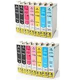 14 x compatibile Cartucce d'inchiostro Epson con CHIP T0801 T0802 T0803 T0804 T0805 T0806 (4x nero + 2x ciano + 2x magenta + 2x giallo + 2x ciano chiaro + 2x magenta chiaro)