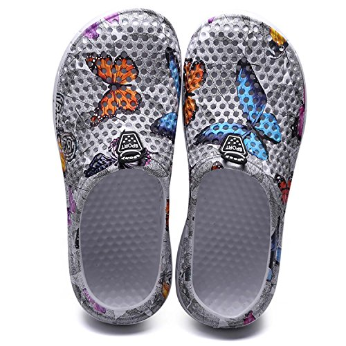 HMAIBO Garden Clogs Shoes Summer Breathable Lightweight House Slippers Indoor Room Shoes Walking Sandals Outdoor Shower Shoes Beach Sport Quick Dry Home Men Women Ladies Grey Butterfly 38