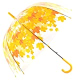 Kung Fu Smith Automatic Open Yellow Leaves Bubble Dome Shape Clear Umbrella