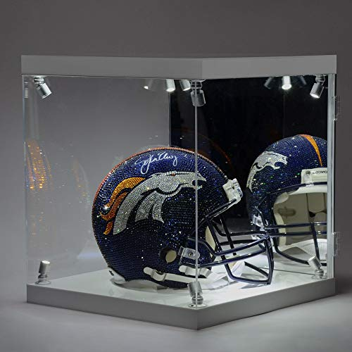 John Elway Denver Broncos Autographed Swarovski Crystallized Riddell Pro-Line Authentic Helmet with LED Display Case on a Rotating Base - Fanatics Authentic Certified