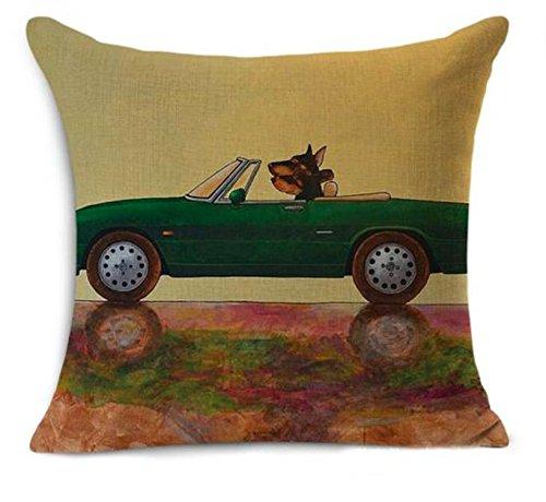 Petite Lili Cushion Cover with Dog Driver Design, Decorative Pillowcase - Bed/Kids/sofa 18 x 18 inch, (GREEN SPORT CAR)