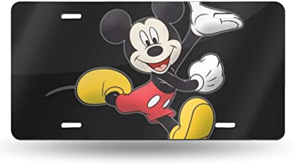 DISNEY CHARACTERS ON BLACK BACKGROUND METAL NOVELTY LICENSE PLATE TAG