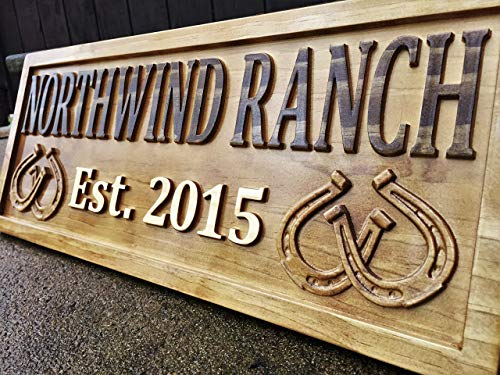 (Personalized Ranch Sign Rustic Wood Sign Personalized Couples Gift Custom Wooden Sign Family Last Name Established Gift Stall Sign Horse Barn Horseshoe Decor Western 5 Year Anniversary Gift)