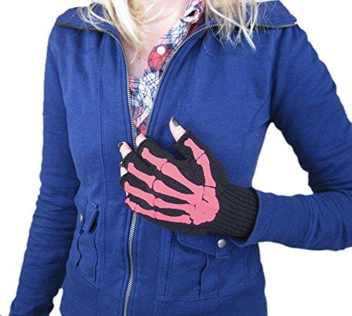 Pink Skeleton Bones Fingerless Texting Gloves -