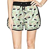ZKDFOSPCCL Women's Cute Birds Lover Beach Elastic Shorts