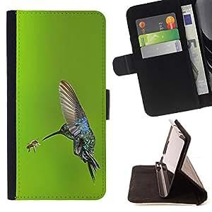 - bird flying wings hummingbird green - - Prima caja de la PU billetera de cuero con ranuras para tarjetas, efectivo desmontable correa para l Funny HouseFOR HTC One M7