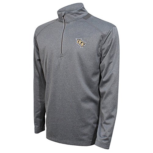 NCAA Men's Crable Quarter Zip with Team Neck Panel,Central Florida Golden Knights,Heather Gray/Black,Large ()