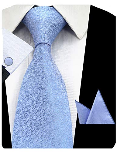 - GUSLESON Classic Solid Silk Tie Mens Blue Necktie Set with Pocket Square and Cufflinks (0727-16)