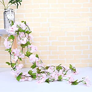 UUPP 2Pcs 7.2FT Artificial Cherry Blossom Flower Garland Silk Fake Flower Hanging Vine for Home Hotel Office Garden Wedding Party Outside Decoration 2