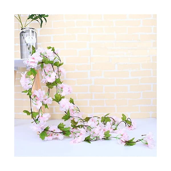 UUPP-2Pcs-72FT-Artificial-Cherry-Blossom-Flower-Garland-Silk-Fake-Flower-Hanging-Vine-for-Home-Hotel-Office-Garden-Wedding-Party-Outside-Decoration