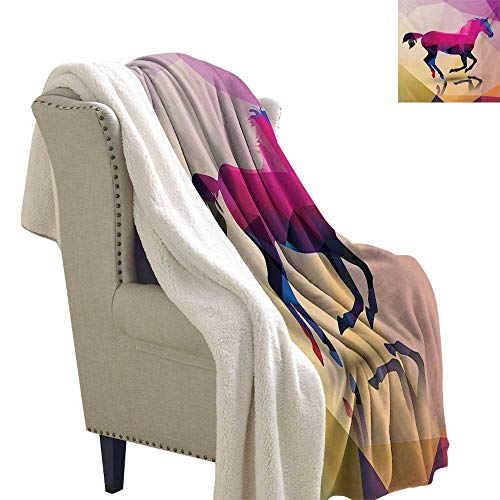 Sunnyhome Geometric Blanket Small Quilt 60x78 Inch Shaded Geometric Abstract Horse Animal Pattern Indie Novelty Symbol Print Soft Blanket Microfiber Cream Pink Purple -