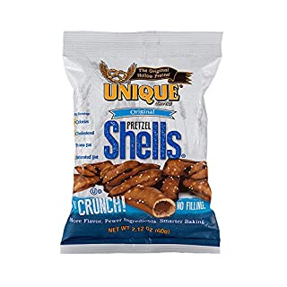 Unique Pretzels - Original Pretzel Shells, Delicious Vegan Snack Pretzels Individual Pack, Large OU Kosher Pretzels, 2.12 Oz Bags, 24 Pack