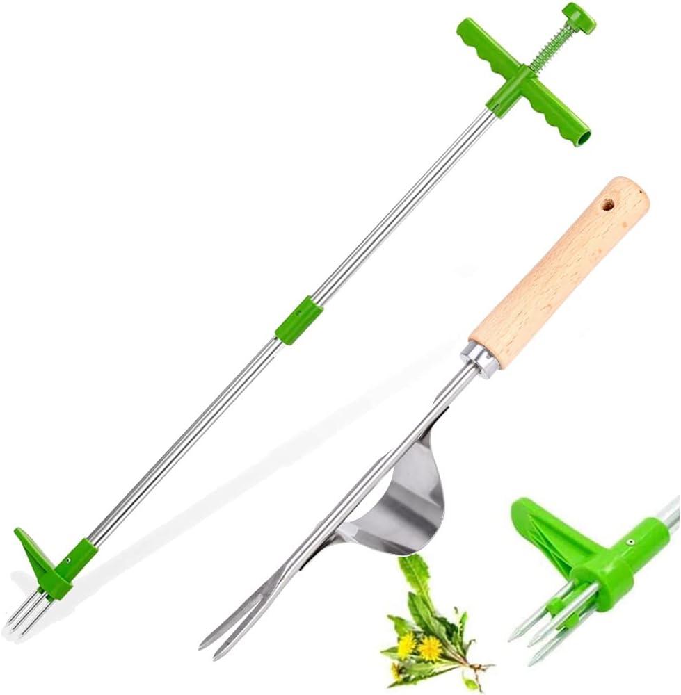 Extractor de hierba Weeder, herramienta manual para quitar malezas de pie, herbicida de jardín con mango largo, 3 garras de giro, removedor de raíces de plantas de pie
