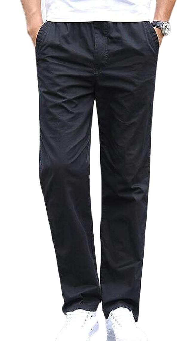 Fubotevic Mens Cotton Pockets Straight Leg Elastic Waist Casual Long Pants