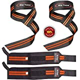 Rip Toned Lifting Straps + Wrist Wraps Bundle (1 Pair of Each) for Weightlifting, Xfit, Workout, Gym, Powerlifting, Bodybuilding, Strength Training - Men & Women (Full Black)