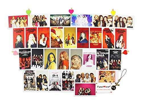 Fanstown kpop BLACKPINK lomocard set with gem pendant ropes and clips (KILL THIS LOVE)
