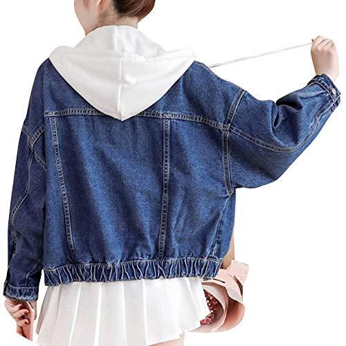 Incappucciato Jacket Casuale Lunga Eleganti Cappotto Manica Giacche Moda Dunkel Primaverile Breasted Jeans Denim Blau Donna Battercake Outerwear Donne Autunno Sciolto Single n1zx8Pxw