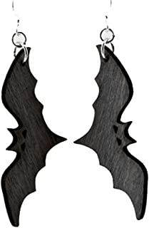 product image for Green Tree Jewelry Black Satin Bats Earrings Wood Wooden Laser Cut #1396
