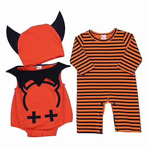 FEESHOW Infant Baby Devil Halloween Cosplay Costume Bodysuit Outfits with Beanie Orange 3-6 Months ()