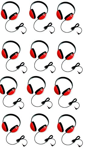 Califone 2800-RD Listening First Headphones in Red (Set of 12) by Califone