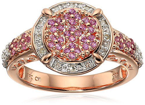 Rose Gold Plated Sterling Silver Circle Cluster Rhodolite Diamond Ring, Size 6