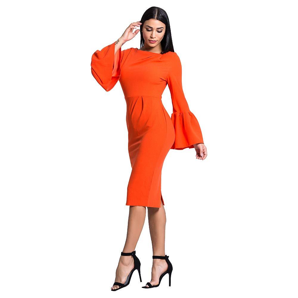 CHICING Women Elegant Orange Ruffle Sleeve Pencil Party Midi Wrap Dress at  Amazon Women s Clothing store  c7cf26081bb6