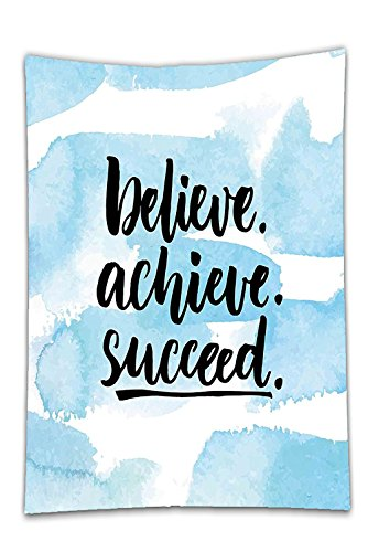 Interestlee Satin drill Tablecloth?Inspirational Quotes Believe Achieve Succeed Positive Challenging Saying Brush Lettering Light Blue Dining Room Kitchen Rectangular Table Cover Home (Infants Bahama Sequins)