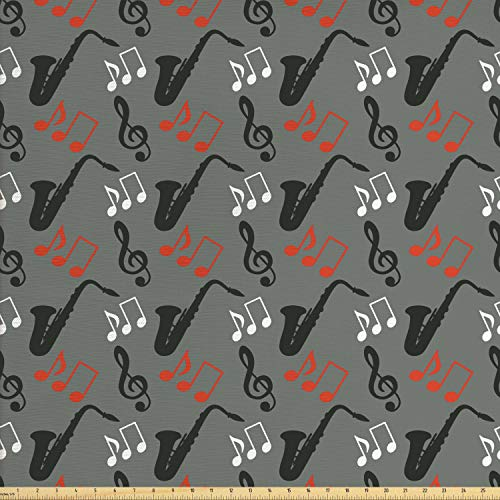 Ambesonne Jazz Music Fabric by The Yard, Music Notes Treble Clef Saxophone Pattern Abstract Design Blues Performance, Decorative Fabric for Upholstery and Home Accents, 2 Yards, Grey Black Red